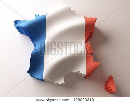 Flag map of France on white background. 3d rendering.