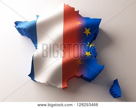 Flag map of France and European Union on white background. 3d rendering.