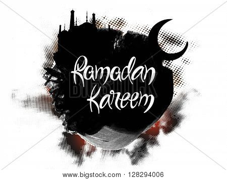 Stylish text Ramadan Kareem on black mosque and moon decorated abstract background for Islamic Holy Month of Fasting celebration.