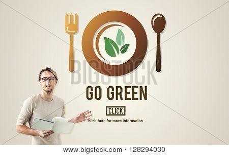 Go Green Health Food Diet Vegan Concept