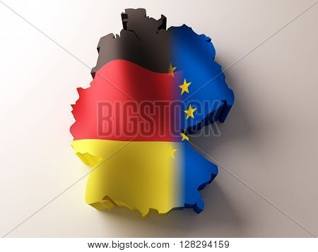 Flag map of Germany and European Union on white background. 3d rendering.