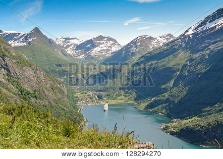 a beautiful fiord in Norway and a cruise
