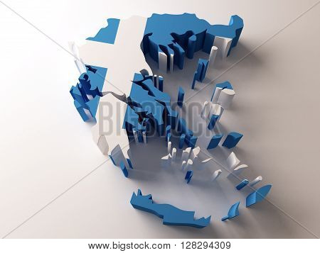 Flag map of Greece on white background. 3d rendering.
