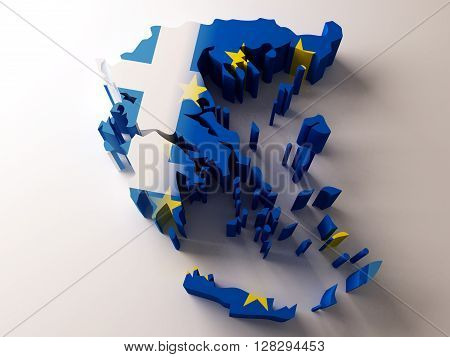 Flag map of Greece and European Union on white background. 3d rendering.