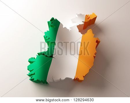 Flag map of Ireland on white background. 3d rendering.