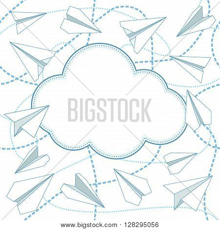 Paper planes and cloud vector seamless background. Paper airplanes flying around cloud with blank space for text. Background is seamless. Can be used for greeting card. EPS8 vector illustration.