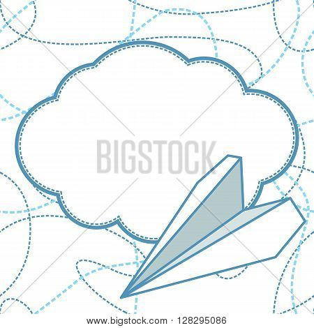 Paper plane and cloud vector seamless background. Paper airplane flying over cloud with blank space for text. Background is seamless. Can be used for greeting card. EPS8 vector illustration.