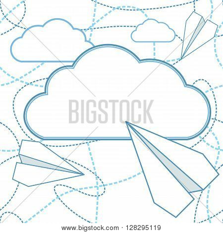 Paper planes and clouds vector seamless background. Paper airplanes flying around clouds with blank space for text. Background is seamless. Can be used for greeting card. EPS8 vector illustration.
