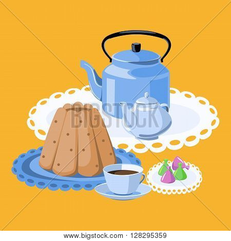 Tea party. Pudding tea cup tea pot kettle and candy.