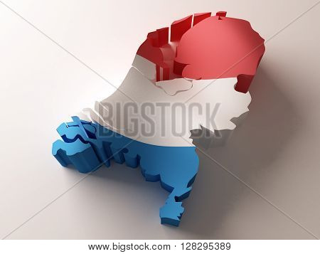Flag map of Netherlands on white background. 3d rendering.