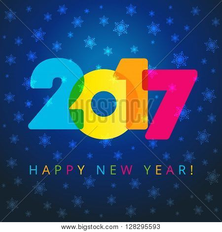 Happy holidays card with snow flakes, color figures 2017 and happy new year text. 2017 new year navy blue card
