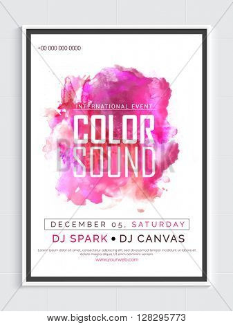 Musical Party Template, Dance Party Flyer, Night Party Banner or Club Invitation with pink abstract design.