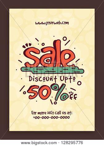 Sale Flyer, Sale Banner, Sale Poster, Discount upto 50%. Creative vector illustration.