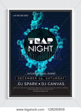 Trap Night Party Template, Dance Party Flyer, Night Party Banner or Club Invitation design.