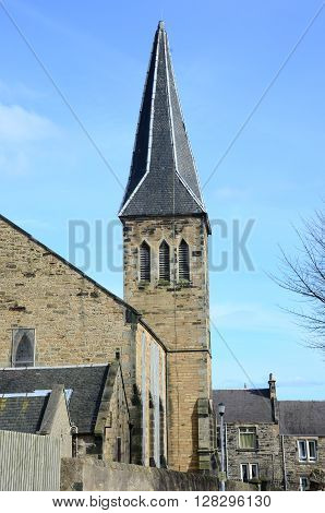 A view of a church tower in Dysart, Fife