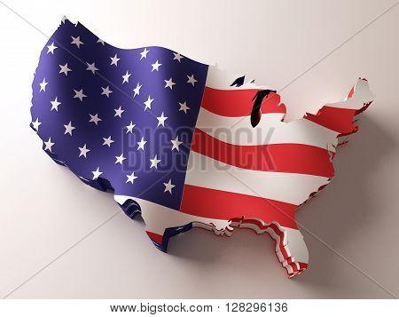 Flag map of USA. 3d illustration. 3d rendering.