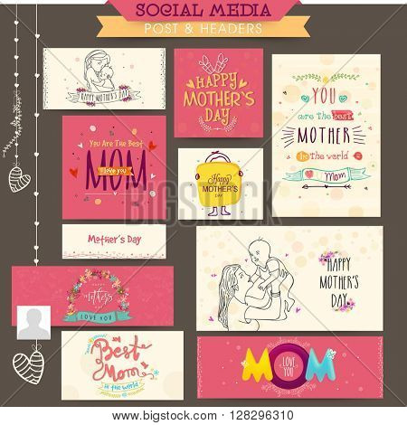 Social Media Post and Header set with creative typographic collection for Happy Mother's Day celebration.
