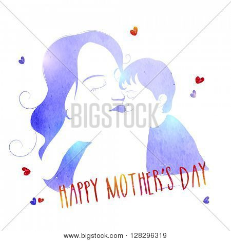 Creative watercolor, glossy illustration of a Mother with her cute Son for Happy Mother's Day celebration.