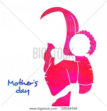 Creative illustration of a woman carrying child on her back, Concept for Mother's Day celebration.