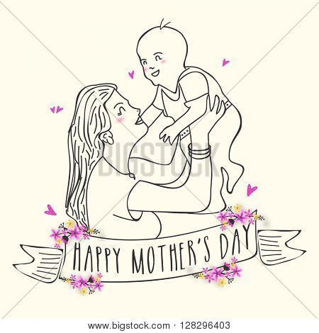 Creative illustration of a woman playing with her cute baby, Concept for Happy Mother's Day celebration.