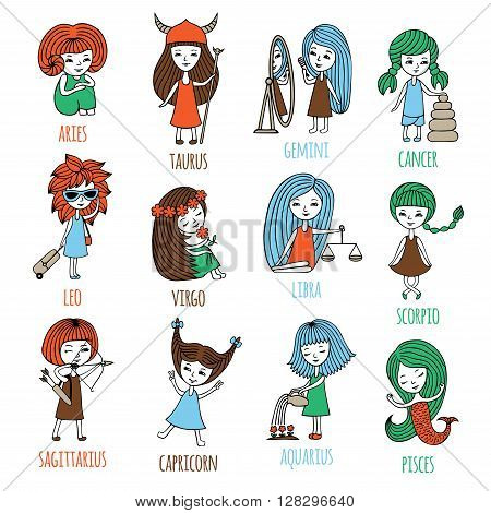 Vector set. The signs of the zodiac are depicted as cute little girls. Hand-drawn. Aries, Taurus, Gemini, cancer, Leo, Virgo, Libra, Scorpio, Sagittarius, Capricorn, Aquarius, Pisces.
