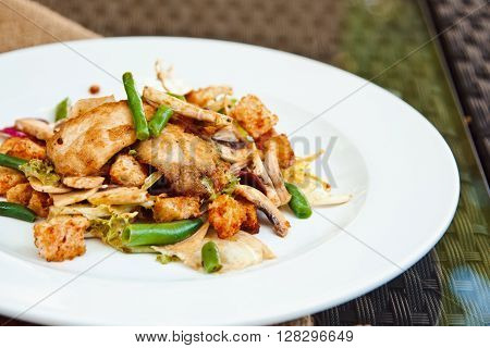 Beautiful Mixed Salad With Chicken Fillet, Crispy Croutons, Asparagus And Mushrooms In Original Seas