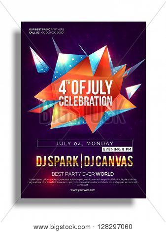 Glossy abstract design decorated, Pamphlet, Banner or Flyer design for 4th of July, American Independence Day celebration.