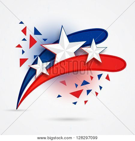 Creative American Flag colors background for 4th of July, Independence Day celebration.