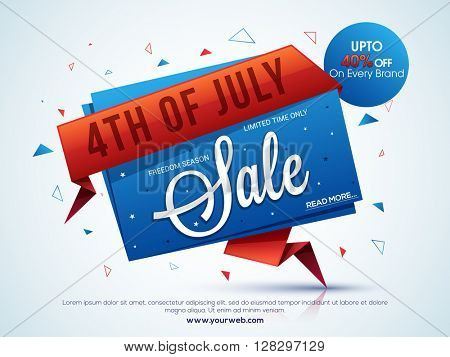 4th of July Sale, Sale Tag, Sale Poster, Sale Banner, Sale Flyer, Upto 40% Off, Limited Time Sale. Vector illustration for American Independence Day concept.