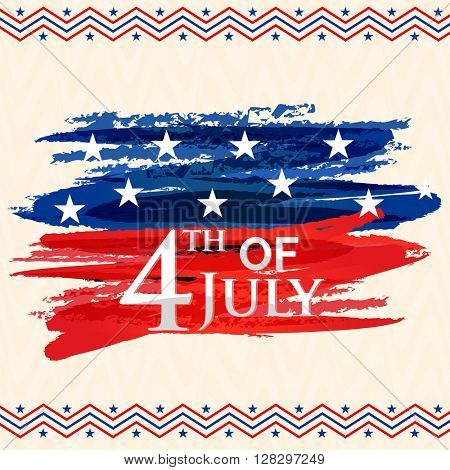 Greeting card design with stylish text 4th of July on American Flag colors abstract design for Independence Day celebration.
