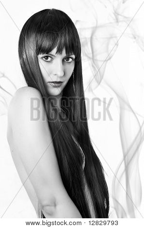 Black And White Beauty Portrait Of Woman