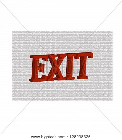 Red word EXIT on gray background. vector illustration