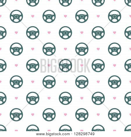 Seamless pattern with vehicle steering wheels. Car steering wheels and hearts on white background. EPS8 vector illustration includes Pattern Swatch.