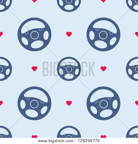 Seamless pattern with automobile steering wheels. Vehicle steering wheels and hearts on blue background. EPS8 vector illustration includes Pattern Swatch.