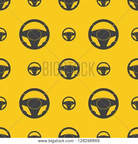 Seamless pattern with automobile steering wheels. Vehicle steering wheels on yellow background. EPS8 vector includes Pattern Swatch.