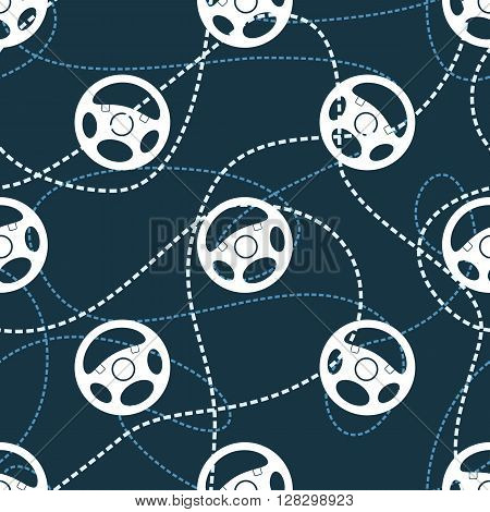 Vehicle steering wheels seamless pattern. Automobile steering wheels and wavy dashed lines on dark background. EPS8 vector includes Pattern Swatch.
