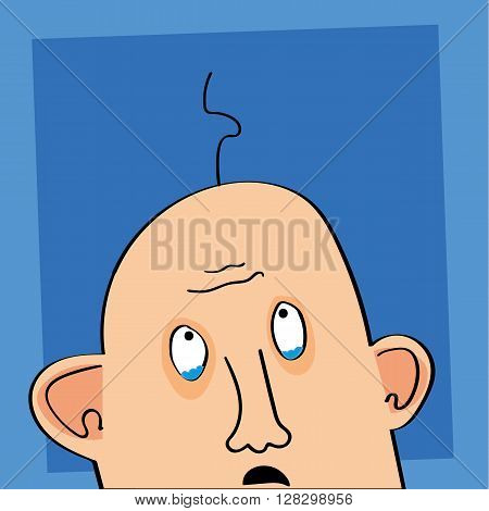 Illustration of a bald man with tears in his eyes as he looks up at the one remaining hair on his head