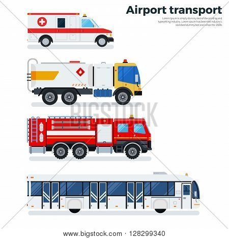 Airport transport vector flat illustrations. Types of transport plying on the airfield while working. Ambulance, fire engine and passenger bus isolated on white background