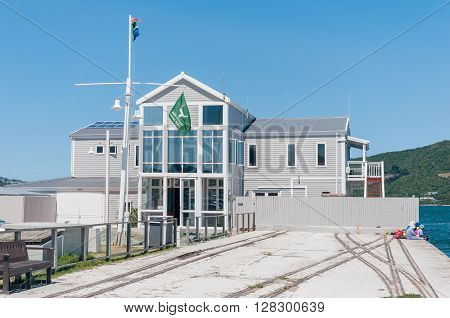 KNYSNA SOUTH AFRICA - MARCH 3 2016: The Regional Office of the South African National Parks Board is situated at the historic Thesens Island Jetty