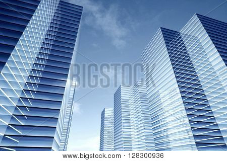 Illustration of abstract blue glass skyscrapers, office buildings