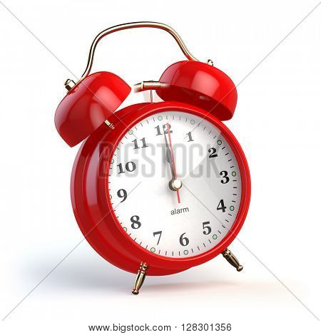 Ringing alarm clock isolated on white. Wake up concept. 3d illustration