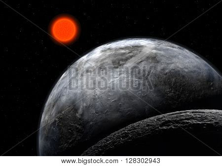 View of fantasy Alien Exo Planet near the suns view 3d rendering