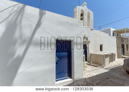 Typical white house in town of Naoussa, Paros island, Cyclades, Greece