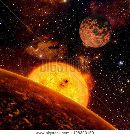 View of fantasy Alien Exo Planet near the sun 3d rendering
