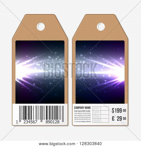 Vector tags design on both sides, cardboard sale labels with barcode. Abstract flash background, dark design vector illustration.