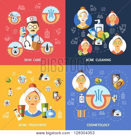 Acne Compositions Icon Set about skin care acne cleaning treatment and cosmetology in square isolated vector illustration
