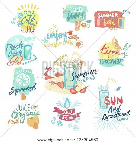 Set of hand drawn watercolor badges and stickers of fresh fruit juice and drinks. Vector illustrations for menu, food and drink, restaurant and bar, summer refreshment, cocktail bar, organic fruit, summer holiday.