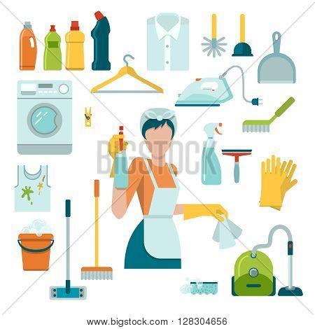 Isolated colored icons set with an employee in cleaning service and its tools and equipment vector illustration