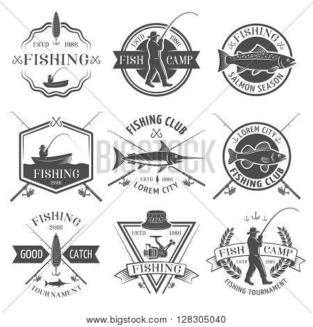 Fishing club black white emblems set with man in hat rod boat catch inscriptions isolated vector illustration