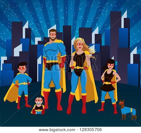 Family of superheroes poster with mother father doughter little son baby and dog posing together in the city vector illustration